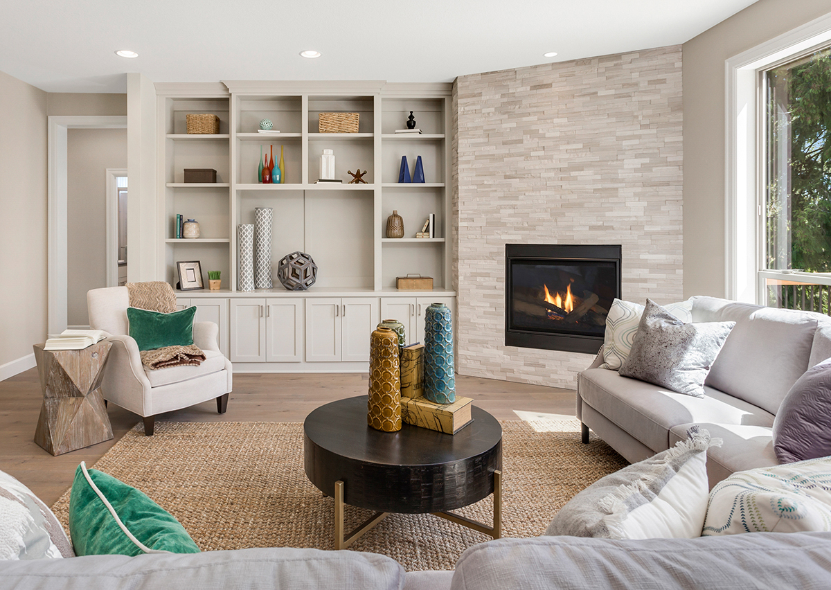Beautiful Furnished Living Room Interior in New Home with Furnit